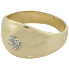 Diamond Yellow Gold Gypsy Style Pinky Ring, circa 1950s