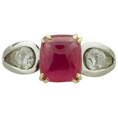 3.48 Carat Ruby and Diamond Solitaire Ring in Platinum and 18 Karat