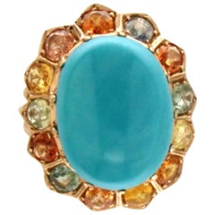 Turquoise 14 Carat Yellow Gold Sapphires Cocktail Ring