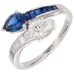 GIA Certified Pear Sapphire Diamond Swirl Bypass Platinum Cocktail Ring
