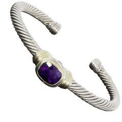 David Yurman Amethyst Cable Station Sterling Silver Cuff Bracelet