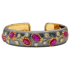 12 Carat Burman Ruby and Diamond Cuff Bracelet