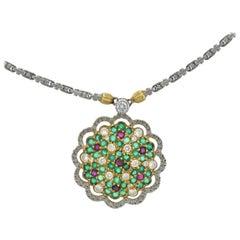 Buccellati Gold Diamond Ruby Emerald Pendant Necklace