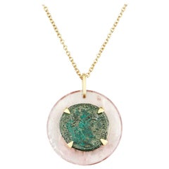 Dubini Constantine Ancient Bronze Coin Rose Quartz Medallion Gold Necklace