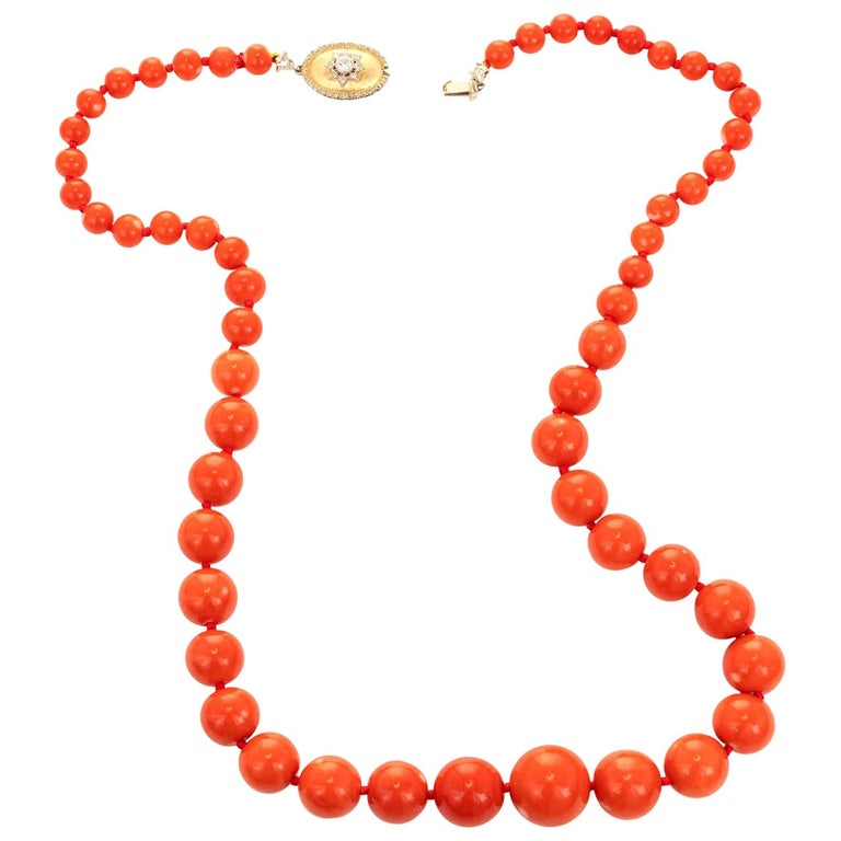 GIA Certified Natural Coral Diamond Yellow Gold Necklace