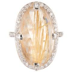 14.35 Carat Oval Rutilated Quartz Diamond Halo Gold Cocktail Ring