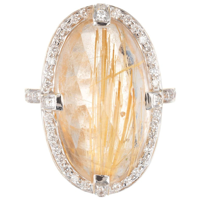 14.35 Carat Oval Rutilated Quartz Diamond Halo Gold Cocktail Ring