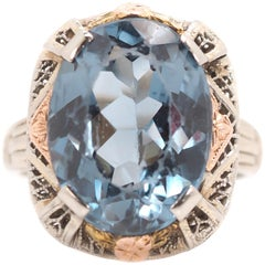 1930s 5 Carat Blue Topaz and 14 Karat Tri-Color Gold Filigree Ring