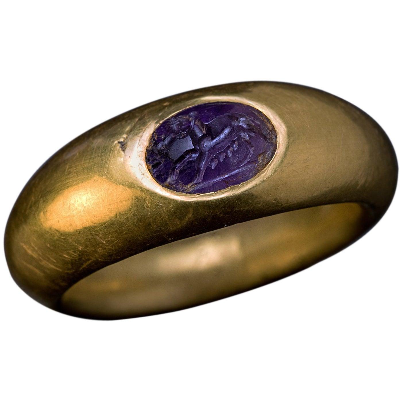 Ancient Roman Amethyst Intaglio Gold Ring
