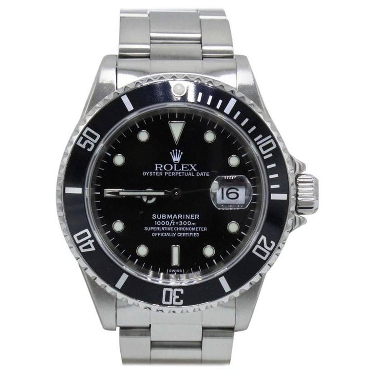 Rolex Submariner Oyster Date 16610 Black Dial Stainless Steel