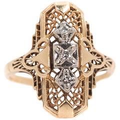1940s Diamond and 14 Karat Yellow Gold Three-Stone Shield Ring