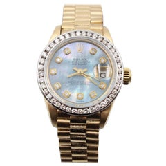 Rolex Ladies President 18K Yellow Gold 6917 Blue MOP Diamond Dial Diamond Bezel