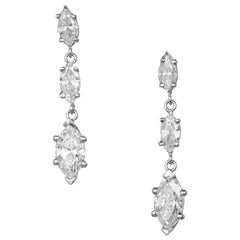 Peter Suchy 2.32 Carat Marquise Triple Diamond Platinum Dangle Earrings