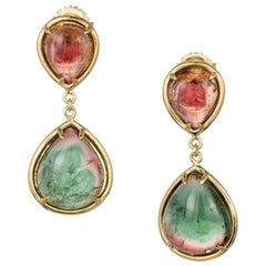 Peter Suchy 18.25 Carat Natural Tourmaline Dangle Gold Earrings