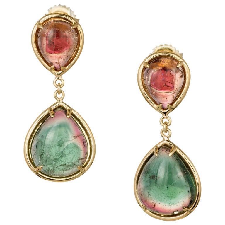 Peter Suchy 18.25 Carat Natural Tourmaline Dangle Gold Earrings
