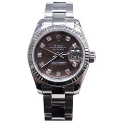 Rolex Ladies DateJust 179174 MOP Diamond Dial 18K Gold & Steel w/Box & Papers