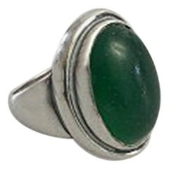 Georg Jensen Sterling Silver Ring No 46A with Green Agate