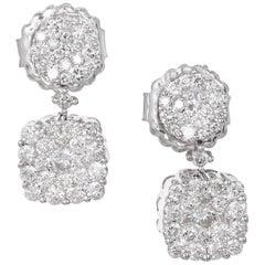 1.50 Carat Double Diamond Gold Cluster Dangle Earrings