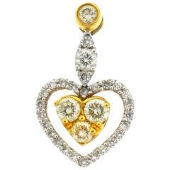 18 Karat Two-Tone Diamond Heart Pendent 1.25 Carat