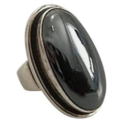 Georg Jensen Sterling Silver Ring No 46E Ornamented with Hematite