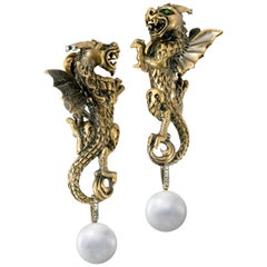 Wendy Brandes Detailed Pearl, Tsavorite, Diamond Winged Dragon Gold Earrings
