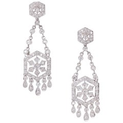 1.25 Carat Diamond Gold Dangle Chandelier Earrings