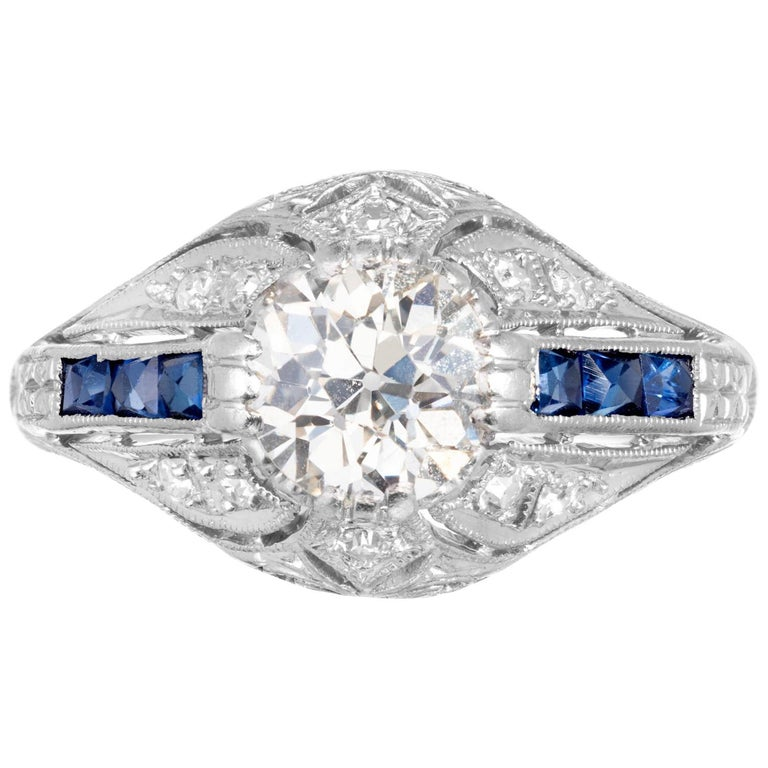 .82 Carat Old European Diamond Sapphire Engagement Ring