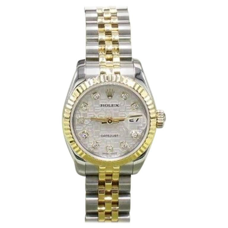 Rolex 179173 Ladies Datejust Jubilee Diamond Dial 18K Gold & Steel Box & Papers