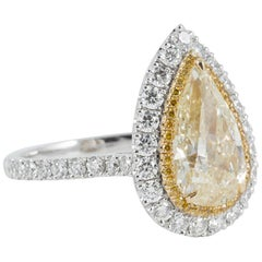3.01 Carat Natural Light Yellow Pear Shape Diamond Ring with Double Diamond Halo