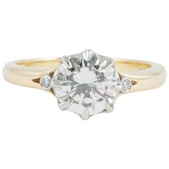 1.63 Carat, I, VVS1 Round Brilliant Cut Diamond and 18 Karat Gold Mount