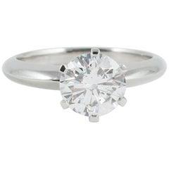 1.52 Carat Round Brilliant Cut Diamond and Platinum Solitaire Ring