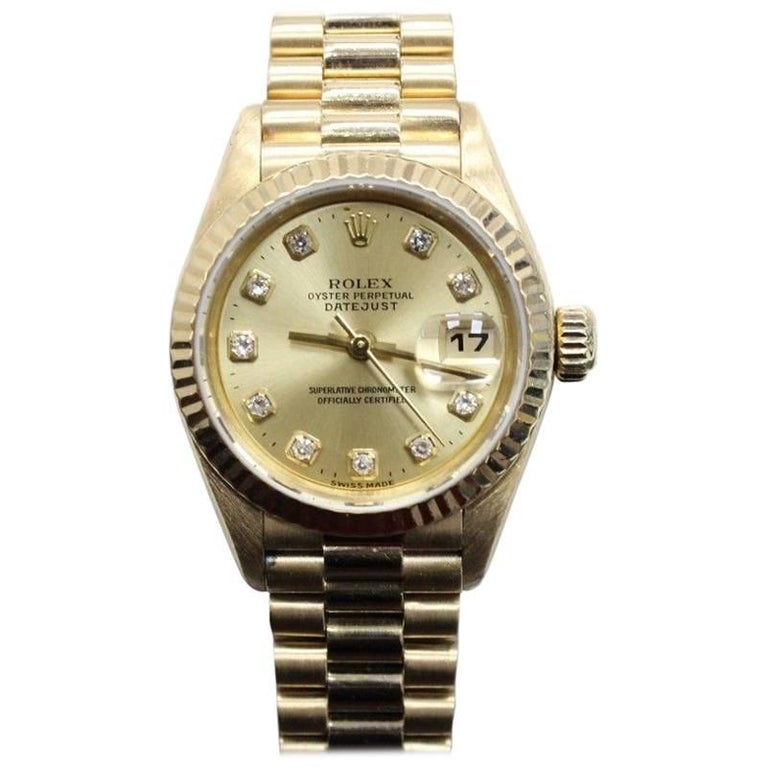 Rolex Ladies President 18 Karat Yellow Gold Datejust 69178 Diamond Dial