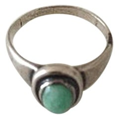 Georg Jensen Silver Ring with Green Stone No 46