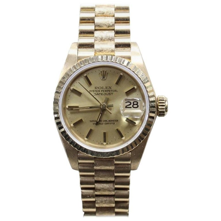 Rolex Ladies President Datejust 6917 18 Karat Yellow Gold with Box and Papers