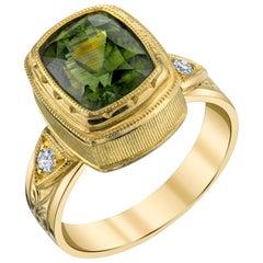 5.38 Carat Green Zircon and White Diamond 18 Karat Yellow Gold Ring