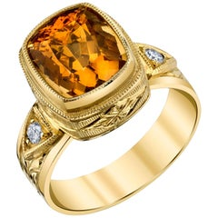 5.73 ct. Orange Zircon Cushion, Diamond 18k Yellow Bezel Handmade Engraved Ring