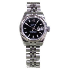 Rolex Ladies Datejust 179174 Black Index Dial 18 Karat Gold and Steel
