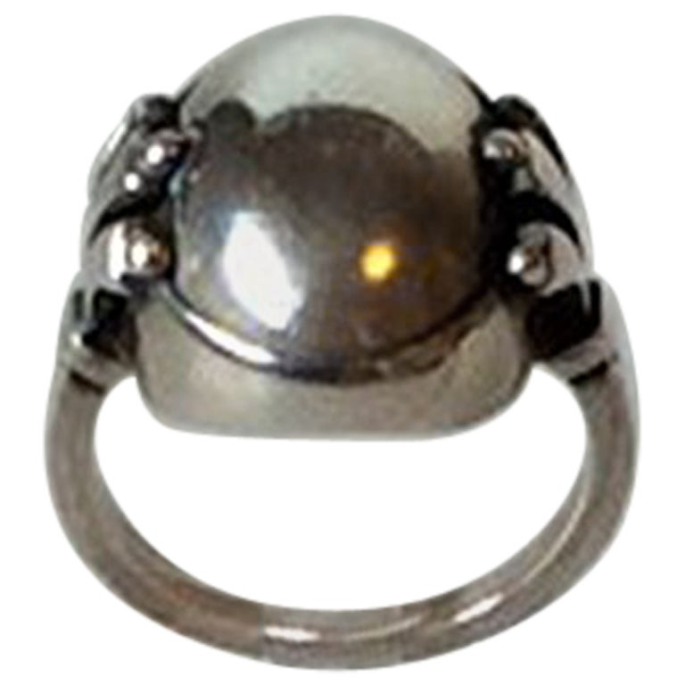 Georg Jensen Sterling Silver Ring with Silver Stone No 51