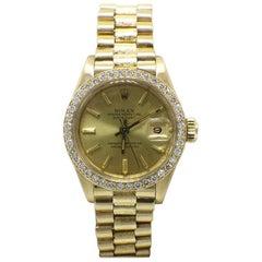 Rolex Ladies President Datejust 6917 Diamond Bezel 18 Karat Gold Bark Finish