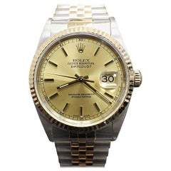 Rolex Datejust 16233 18 Karat Yellow Gold and Steel No Holes Mint Band
