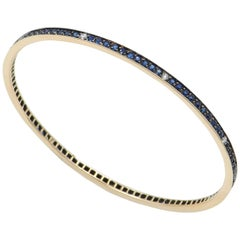 18 Karat Rose Gold Blue Sapphires Garavelli Bangle Bracelet