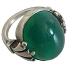 Georg Jensen Sterling Silver Ring No 51 with Green Agate