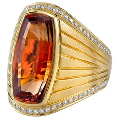 16.10 Imperial Topaz Cushion, Diamond Border 18k Yellow Gold Bezel Band Ring