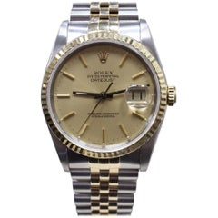 Rolex 16233 Datejust 18 Karat Yellow Gold and Stainless Steel