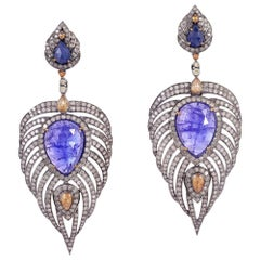 Tanzanite, Sapphire and Diamond Feather Earrings