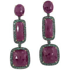Three-Tier Ruby and Emerald Earring