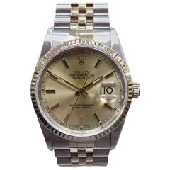 Rolex 16233 Datejust Champagne Dial 18 Karat Gold and Steel Tight Band No Holes