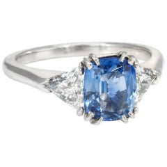 Cushion Cut Sapphire Diamond Engagement Ring Platinum Vintage Jewelry