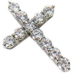 Gold Diamond Cross Pendant, 0.81 Carat