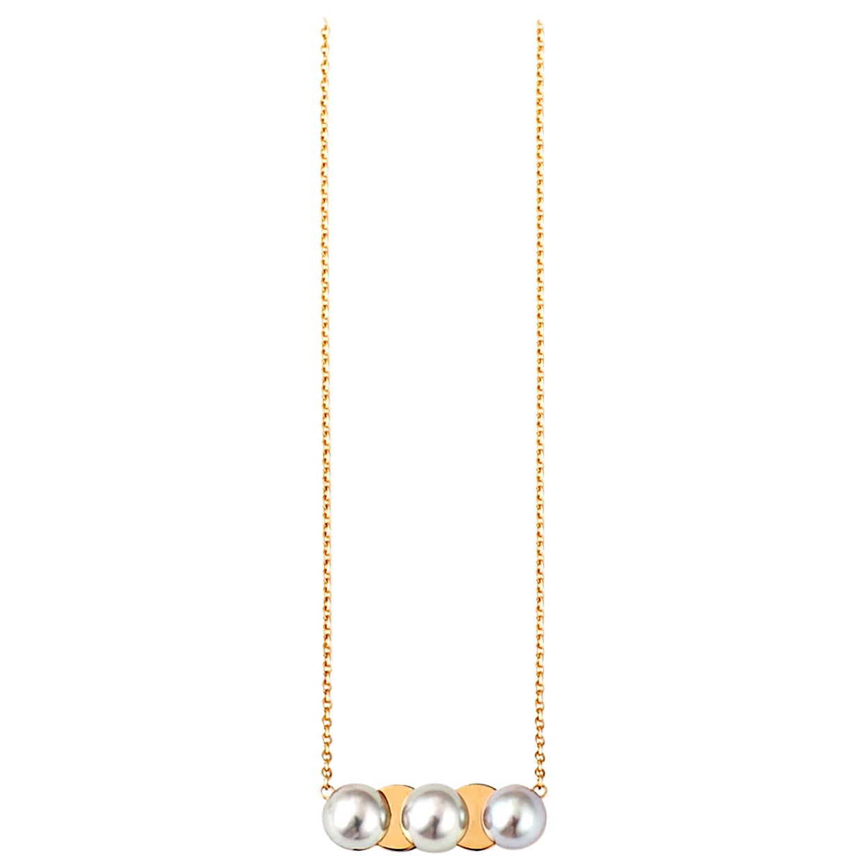 18 Karat Yellow Gold Akoya Pearl Drop Necklace